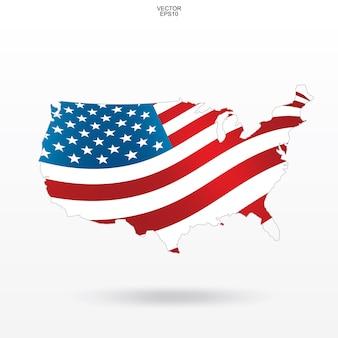 Karte der usa mit muster und wellenartig bewegen der amerikanischen flagge.