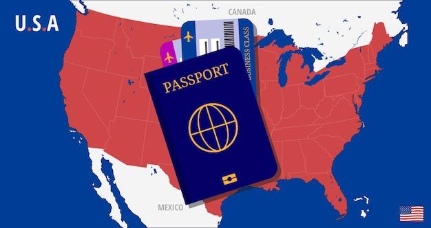 Karte der usa mit reisepass und zwei tickets