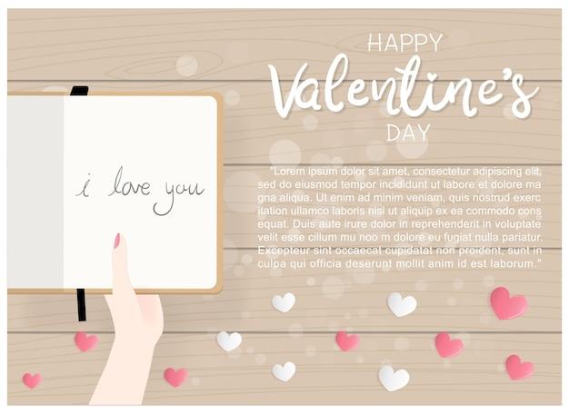 Karte des flachen designs valentinsgrußes mit der hand, die tagebuch hält