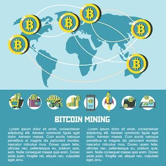 Karte des umlaufs von bitcoins in der welt. vektor-illustration. bitcoin-mining-icon-set.