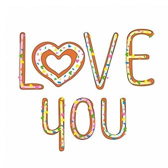 Karte des valentinsgrußes mit plätzchentext liebe dich