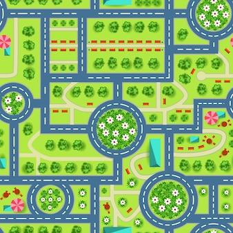 Karte einer draufsicht von der stadt