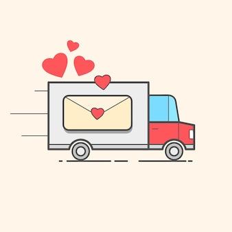 Karte eines valentinstags. roter lkw mit herzen. liebe - schriftzug zitat. humor-poster, t-shirt-komposition, handgezeichneter stildruck. vektor-illustration.