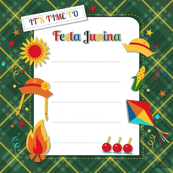 Karte festa junina auf plaidhintergrund