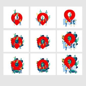 Karte flache illustrationsvorlagen