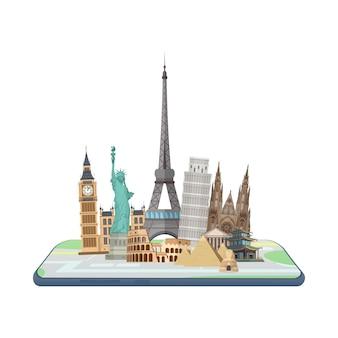 Karte im smartphone. weltmarksteine auf der karte.