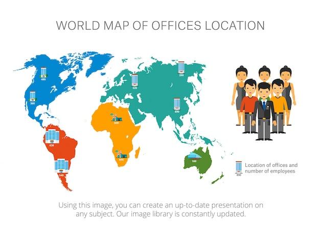 Karte infografiken mit zeigern folie