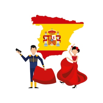 Karte klassische ikone der spanischen kultur