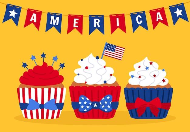 Karte mit cupcakes unabhängigkeitstag, usa-flagge cartoon kuchen girlande ammer amerikanische flagge