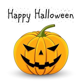 Karte mit einem bösen kürbis für halloween