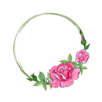 Karte mit einem kranz aus rosenblüten