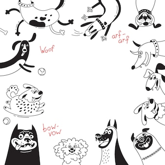 Karte mit frohen hunden und glücklichen welpen. hintergrund mit mischlingen, schäferhund, dackel, schoßhund und anderen rassen