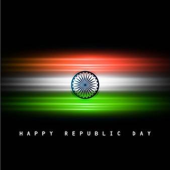 Karte mit glänzenden indischen flagge