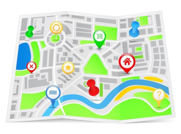 Karte mit kartenmarkierungen