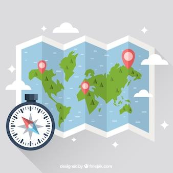 Karte mit kompass design