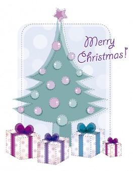 Karte mit niedlichen weihnachtsbaum