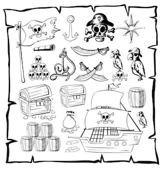 Karte mit piraten-symbolen