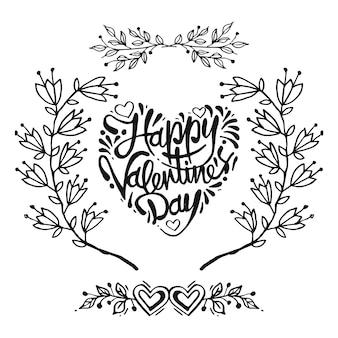 Karte mit rahmen von blumen, happy valentinstag