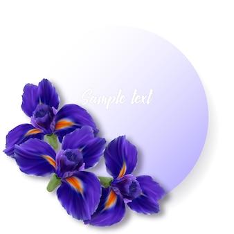 Karte mit realistischen blumen iris