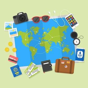 Karte mit reiseelementen in flachen stil