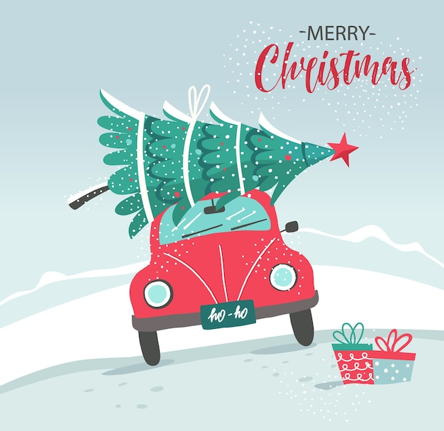 Karte mit rotem auto und weihnachtsbaum