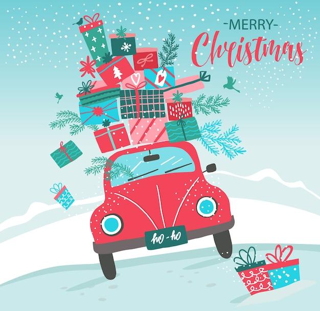Karte mit rotem auto und weihnachtsgeschenken
