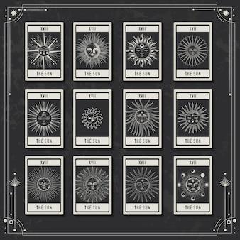 Karte mit verschiedenen stadien der sonnenaktivität im vintage-gravurstil