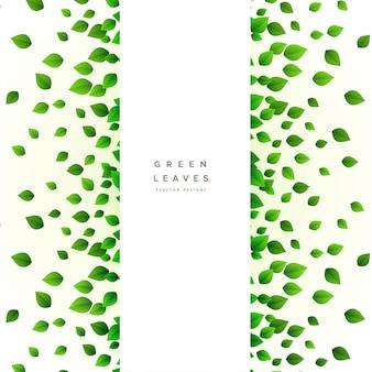 Karte mit verstreuten grünen blättern