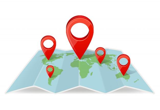 Karte mit zeigernavigation. navigationskonzeptbild mit realistischem kartenzeiger