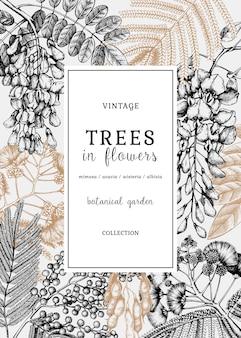 Karte oder einladung mit handgezeichneten bäumen in blumen