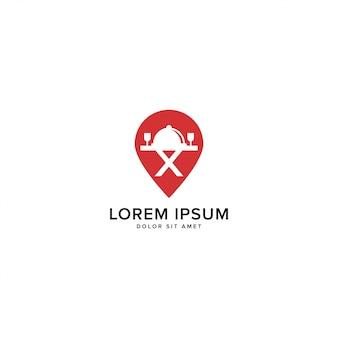 Karte pin und restaurant-logo