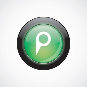 Karte-pin-zeichen-symbol grün glänzend schaltfläche. ui website-schaltfläche