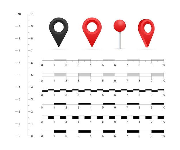 Karte skaliert grafiken zum messen von entfernungen. vektorgrafik auf lager.