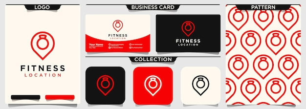 Karte standort fitness-studio sport-vektor-logo-design