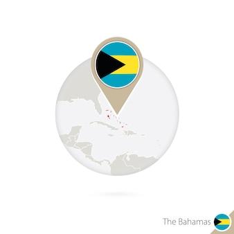 Karte und flagge der bahamas im kreis. karte von bahamas, flaggenstift der bahamas. karte von bahamas im stil der welt. vektor-illustration.