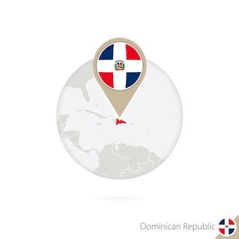 Karte und flagge der dominikanischen republik im kreis. karte der dominikanischen republik, flaggenstift der dominikanischen republik. karte der dominikanischen republik im stil der welt. vektor-illustration.