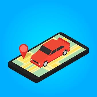 Karte und pins auf dem bildschirm des smartphones. vektor