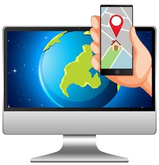 Karte und standort auf elektronischen geräten