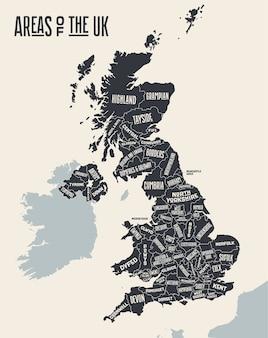 Karte vereinigtes königreich. plakatkarte der gebiete des vereinigten königreichs. schwarzweiss-druckkarte von großbritannien. handgezeichnete grafikkarte mit bereichen.