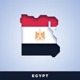 Karte von ägypten mit flagge