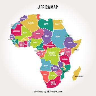 Karte von afrika kontinent mit verschiedenen farben
