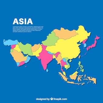 Karte von asien in der flachen art