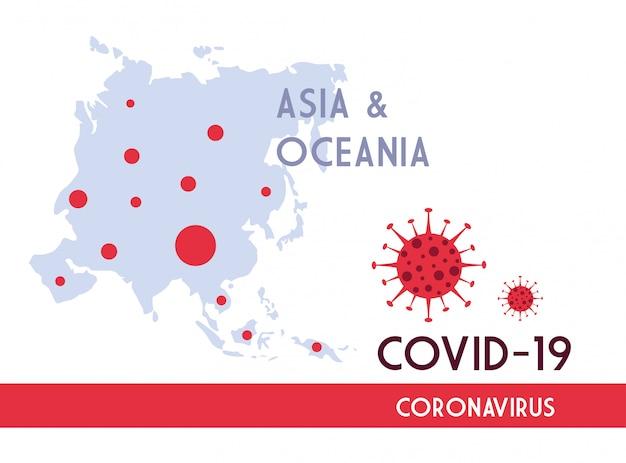Karte von asien und ozeanien mit der ausbreitung der covid 19