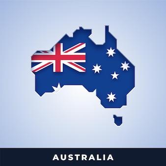 Karte von australien mit flagge
