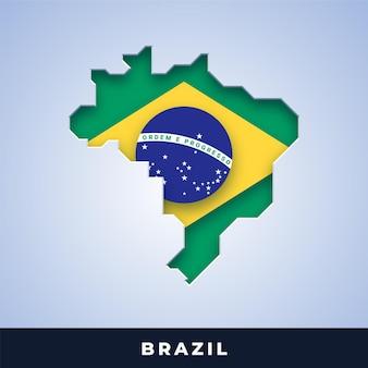 Karte von brasilien mit flagge