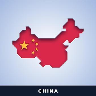 Karte von china mit flagge