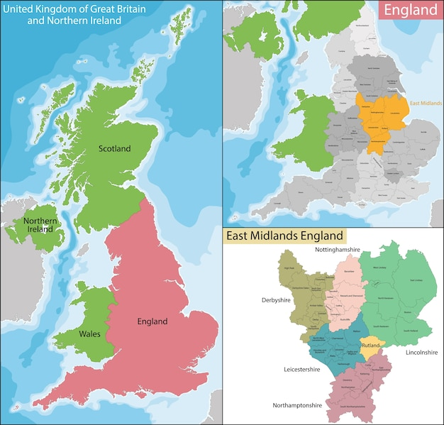 Karte von east midlands england