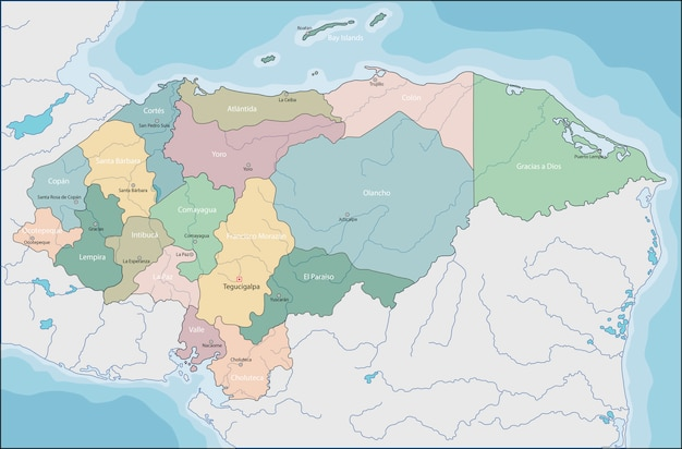Karte von el honduras