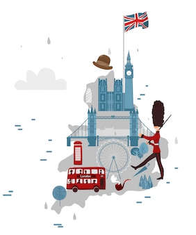 Karte von england und symbole