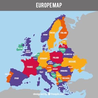 Karte von europa mit ländern von farben